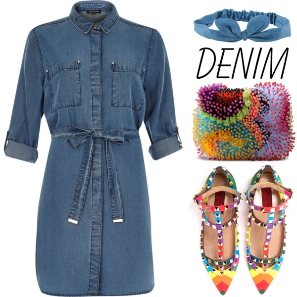 outfit ideas with denim dress 1