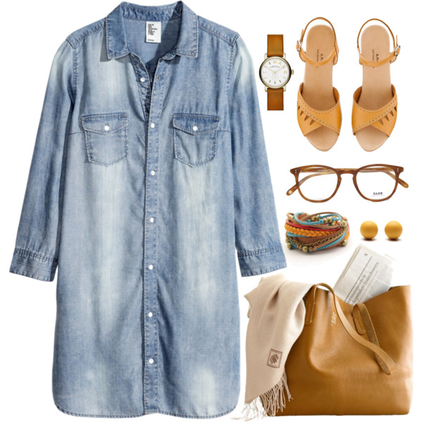 outfit ideas with denim dress 9