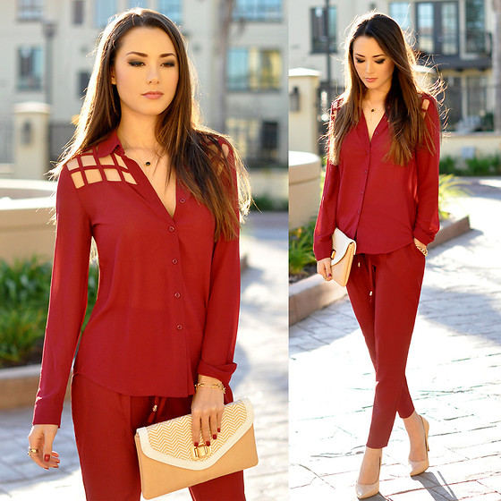 outfit ideas with red trousers 9