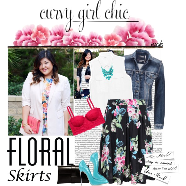 curvy plus size floral skirt women outfit ideas 1