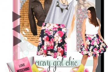curvy plus size floral skirt women outfit ideas 2