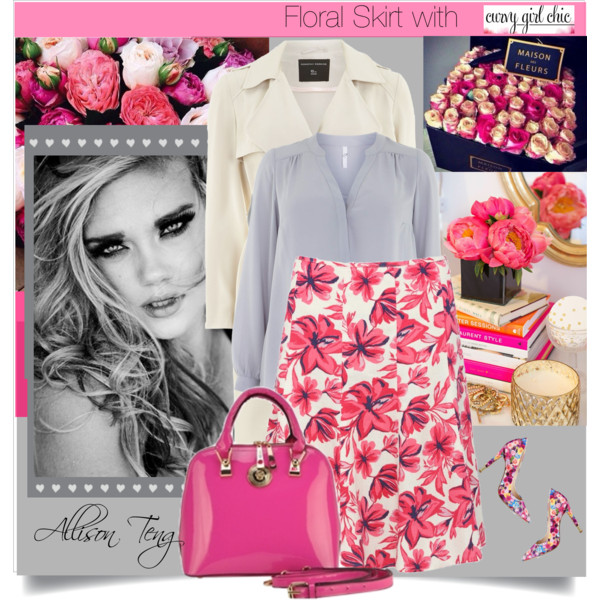 curvy plus size floral skirt women outfit ideas 3