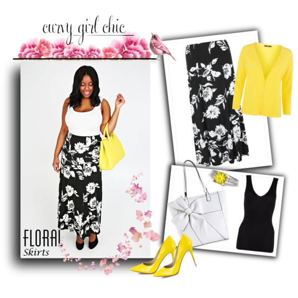 curvy plus size floral skirt women outfit ideas 5