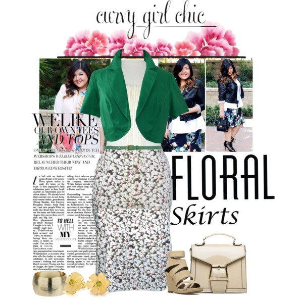 curvy plus size floral skirt women outfit ideas 6
