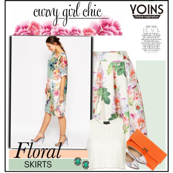 curvy plus size floral skirt women outfit ideas 7