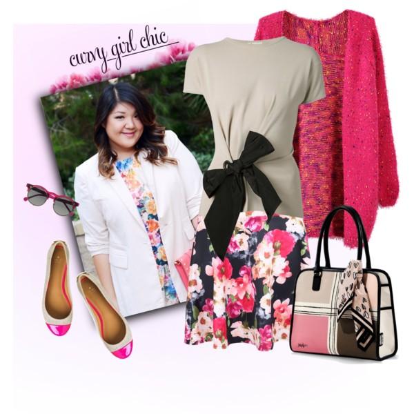 curvy plus size floral skirt women outfit ideas 9