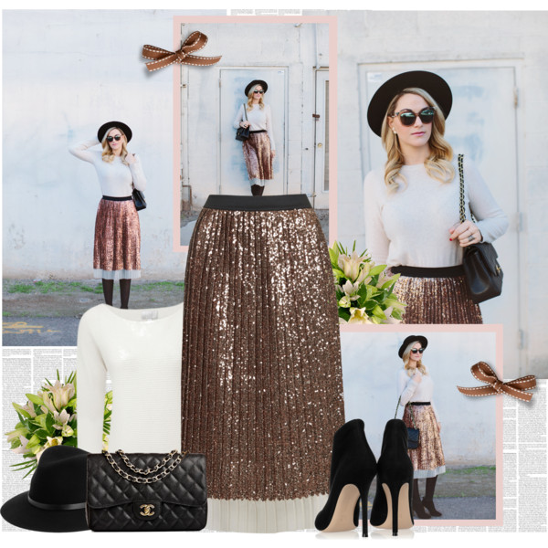 fall outfit ideas with sequined skirts 1