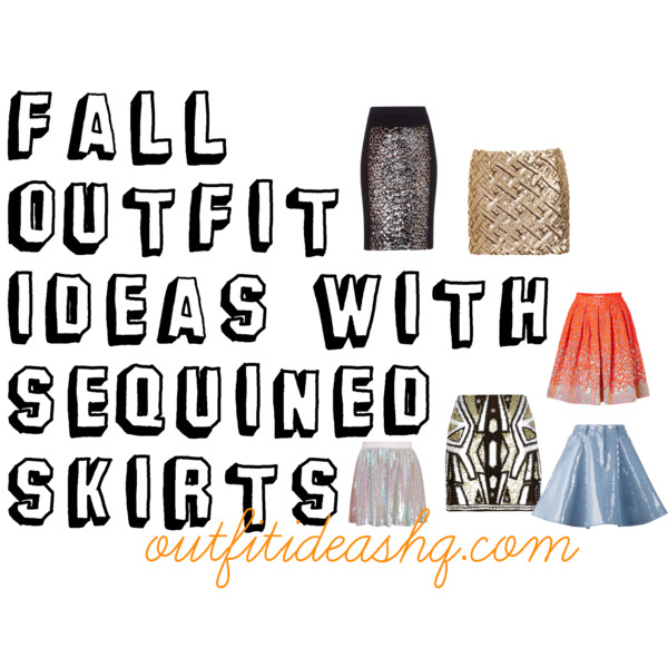 fall outfit ideas with sequined skirts 11