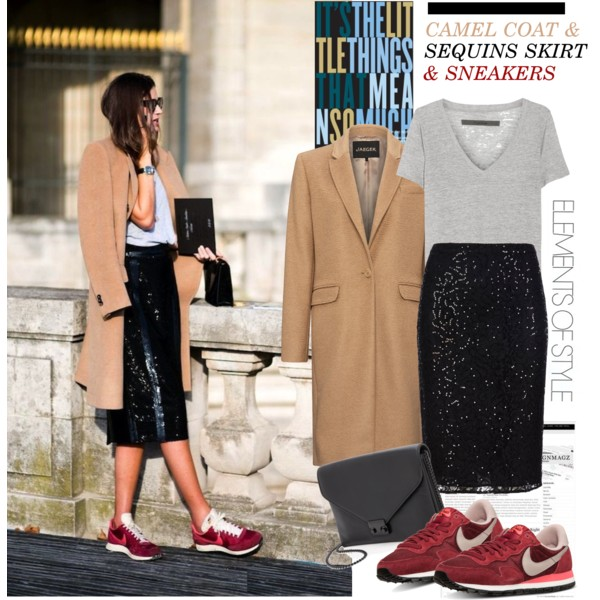 fall outfit ideas with sequined skirts 2