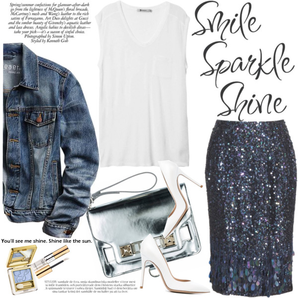fall outfit ideas with sequined skirts 3