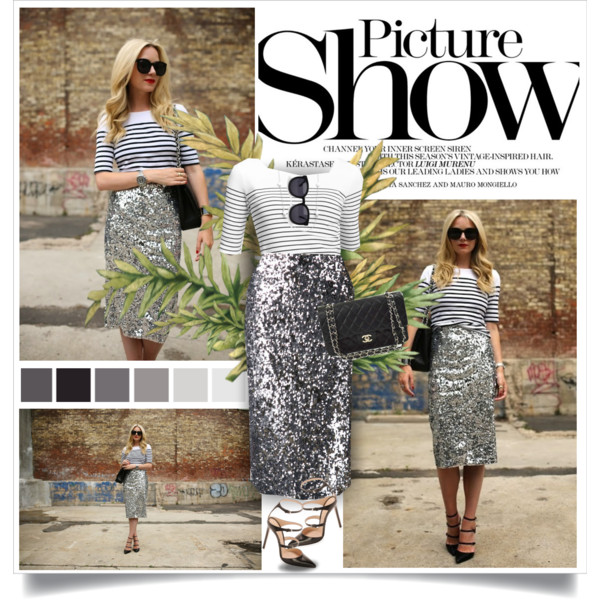 fall outfit ideas with sequined skirts 5