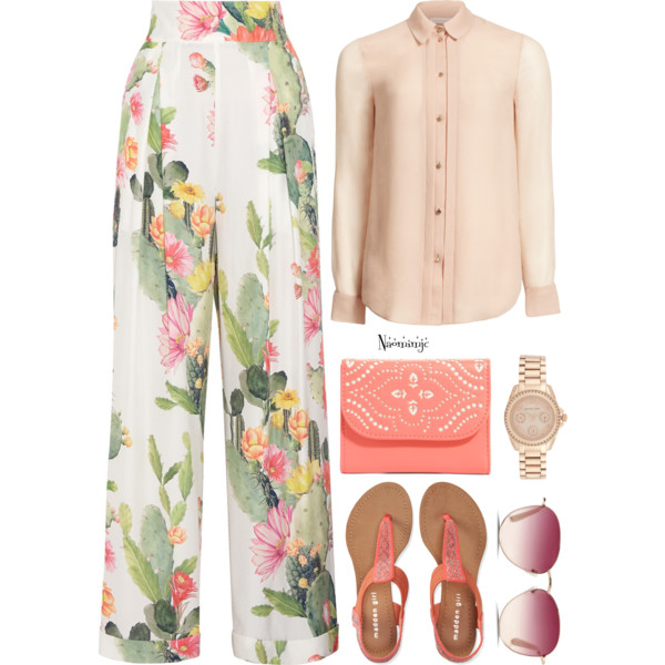 outfit ideas with floral trousers 10
