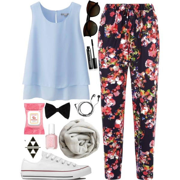 outfit ideas with floral trousers 4