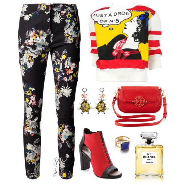 outfit ideas with floral trousers 6
