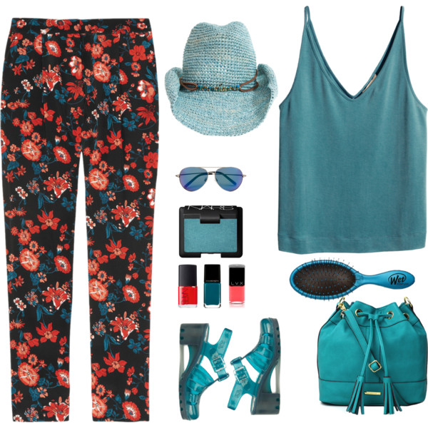 outfit ideas with floral trousers 7