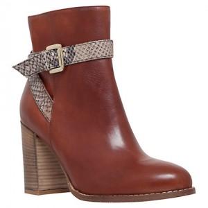 mid-heel slip-on leather ankle boot