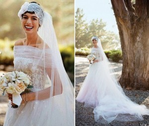 anne hathaway wedding dress pink