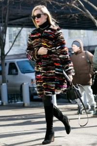 black tights with bold multicolored coat