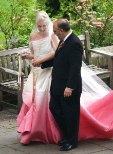 Gwen Stefani pink-ombre wedding gown