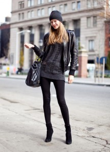 leggings with black ankle boots