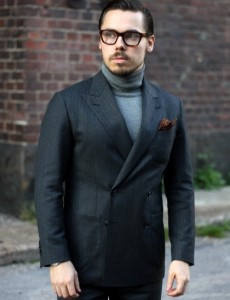 roll neck & double-breasted blazer