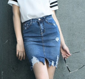 ripped denim miniskirts