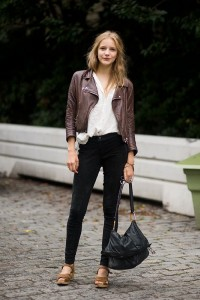 brown shoes with leather jacket