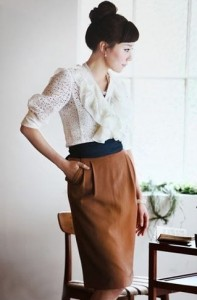 leather skirt soft look
