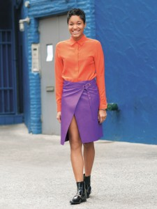 colored leather skirt