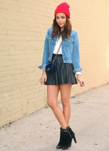denim jacket leather skirt