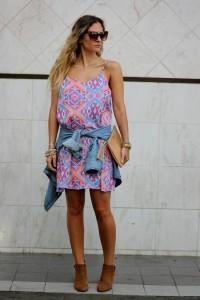 knee-length or calf-length slip dress