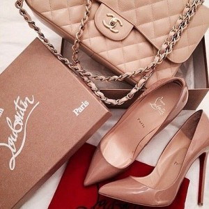beige shoes and beige bags