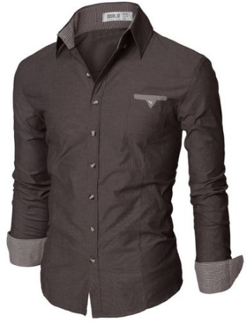 Doublju Mens Slim Fit Cotton Flannel Tailored Shirt