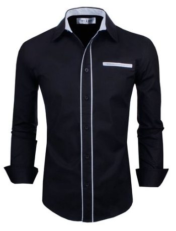 Mens Premium Casual Inner Contrast Dress Shirt