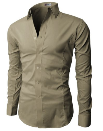 H2H Mens Dress Slim Fit Shirts Basic Designed Long Sleeve of Various Colors