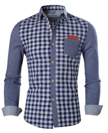 Tom's Ware Mens Trendy Slim Fit Two-toned Checkered Longsleeve Shirt