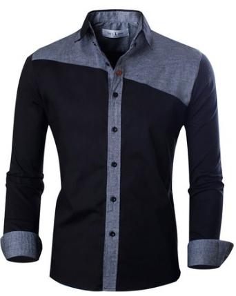 Slim Fit Two-tone Color Retro Long sleeve Shirt