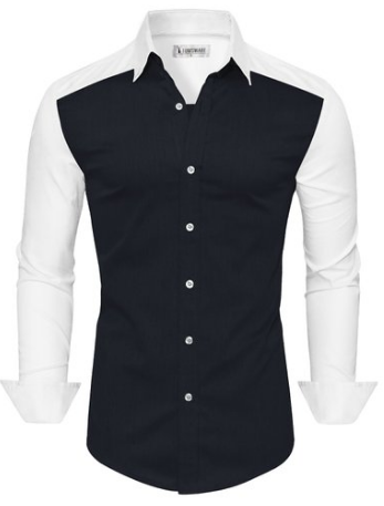 Tom's Ware Mens Casual Slim Fit Two-tone Longsleeve Button Down Shirt