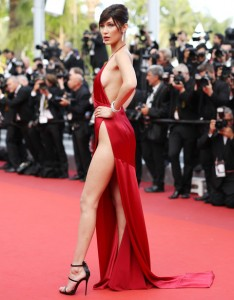 bella hadid red dress