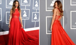 rihanna red dress