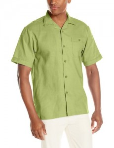 green short-sleeve shirt linen
