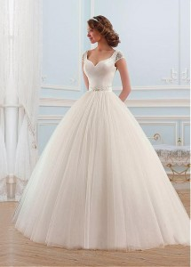 v-neck neckline ball gown wedding dress