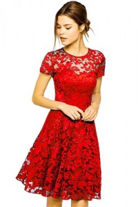 round neck short sleeve pleated red dress