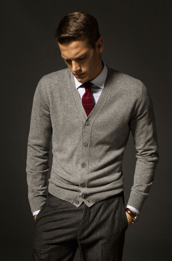 graduation outfit idea for guys gray Gray wool cardigan, wool pinstripe trousers, white shirt, burgundy silk necktie
