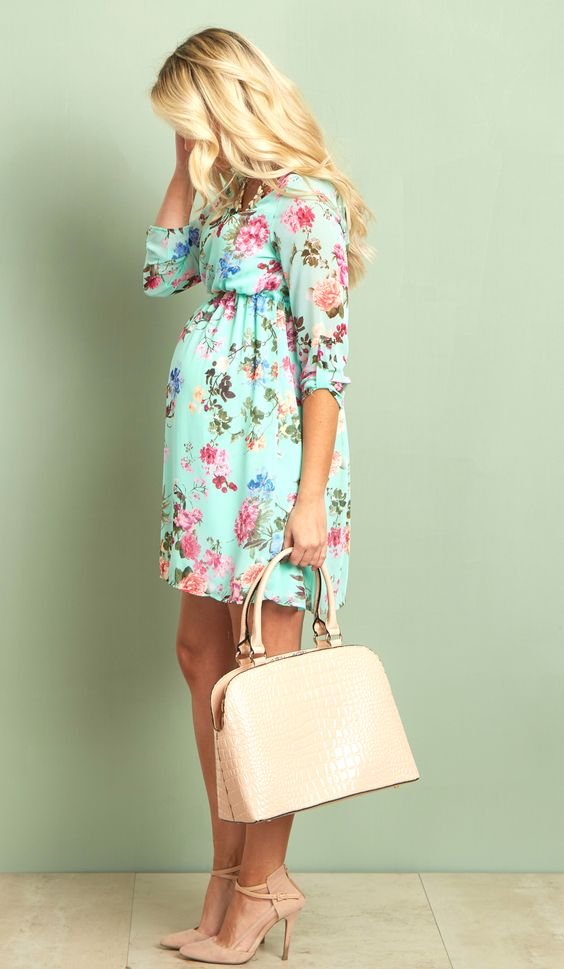 mint floral maternity dress one of our favorite dresses this