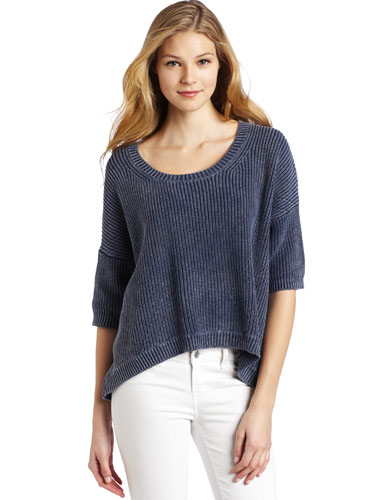 82f2a1a04e886 Acid Wash Pullover – A higher hemline in front makes this sweater sexier  than most. Snuggle up in it during the movie and show off the sexy slouch  after.