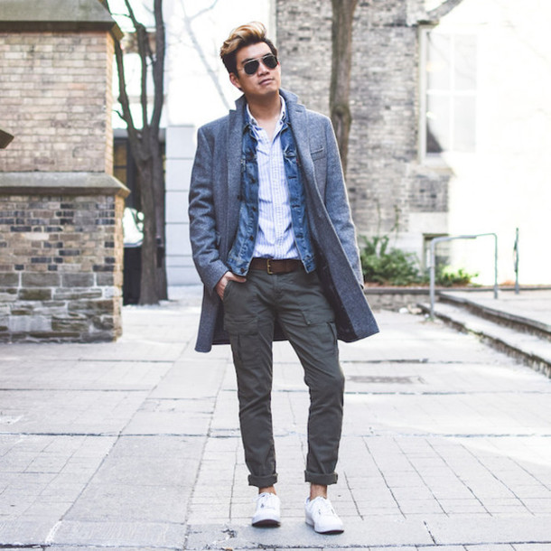 long coat with grey pants