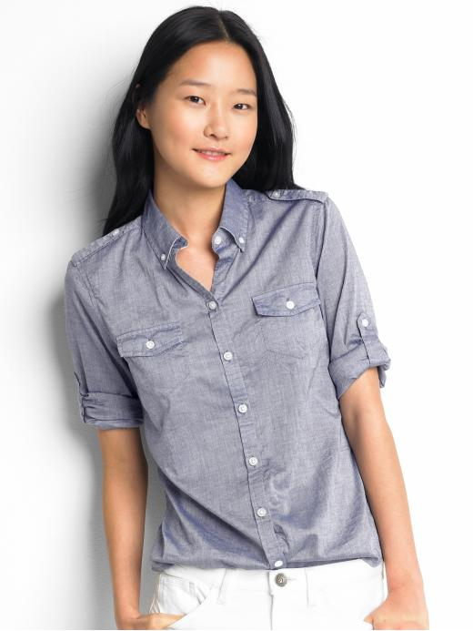chambray safari shirt for a camping trip