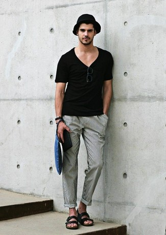 black v-neck t-shirt with grey pants