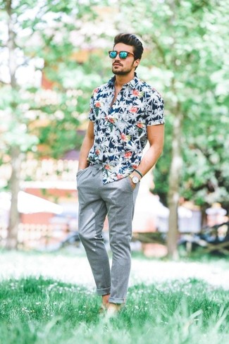 navy floral short sleeve shirt with grey chinos